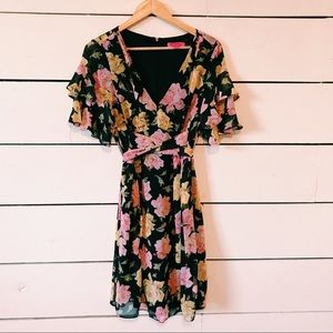 Betsey Johnson Floral Print Wrap Dress Large